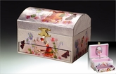 Chest Shaped Pink Ballerina Musical Jewelry Box With Fairy Inlay