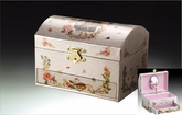 Chest Shaped White Ballerina Musical Jewelry Box With Fairy Inlay