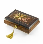 Classic Music Box Features 22 Note Nostalgic Design of A Floral Bouquet Tied With Pink Ribbon