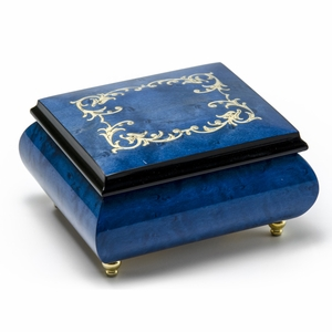 Classic Royal Blue Arabesque Wood Inlay Music Box