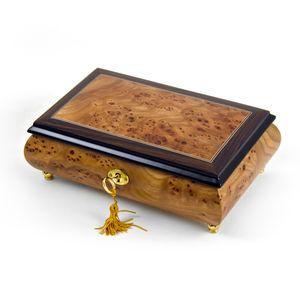 Classic Style 18 Note Light Burl-Elm with Rosewood Border Musical Jewelry Box