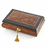 Classic Style Burl-Elm with Rosewood Border Musical Jewelry Box