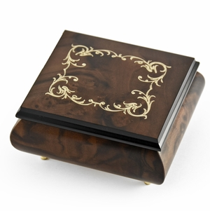 Classic Walnut Stain Arabesque Wood Inlay Music Box