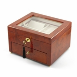 Classic Wood Tone Glass Panel 18 Note Music Jewelry Box