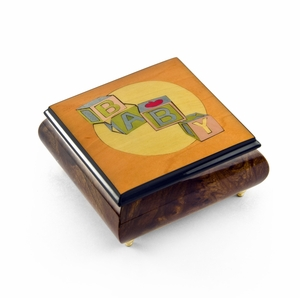 Colorful and Vibrant Baby Blocks Wood Inlay Music Jewelry Box