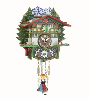 Colorful Kuckulino Quartz Swinging Doll Clock with Mountains by Trenkle Uhren