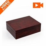 "Contemporary 18 Note Hi Gloss Burl Wood Finish 7"" LCD Video Jewelry Box"
