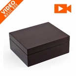 "Contemporary 18 Note Hi Gloss Walnut Finish 5"" LCD Video Jewelry Box"