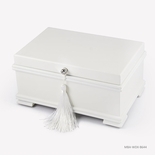 Contemporary 18 Note Matte White Musical Jewelry Box with Lift-Up Tray