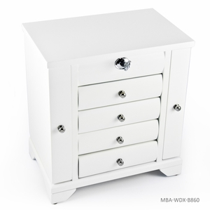 Contemporary 18 Note Matte White Spacious Musical Jewelry Box with Silver Hardware