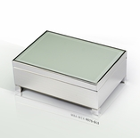 Contemporary 18 Note White Spray Glass with Silver Finish Base Musical Jewelry Box