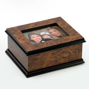 """Contemporary 22 Note Classic Style 3""""x 5"""" Photo Frame Music Jewelry Box"""