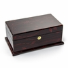 Contemporary 22 Note Dark Rosewood Musical Jewelry Box with Floral Motifs