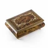 Contemporary 22 Note Wood Tone Music Box with an Arabesque Wood Inlay Design