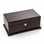 Contemporary 30 Note Dark Rosewood Musical Jewelry Box with Floral Motifs