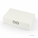 Contemporary 30 Note Matte White Infinity Musical Jewelry Box