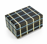 Contemporary Blue and Beige Line Inlay 18 Note Musical Jewelry Box