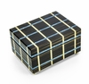 Contemporary Blue and Beige Line Inlay 30 Note Musical Jewelry Box