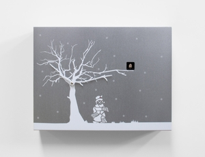 Contemporary Christmas Theme Modern Cuckoo Clock with Silver Wall with White Tree - CùCùRùKù by Progetti