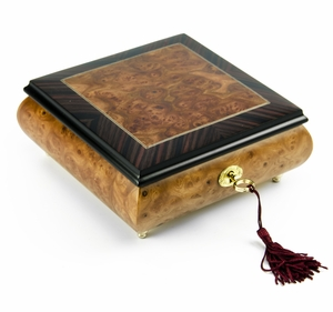 """Contemporary Hand-Made """"Classic"""" Wood Inlay 22 Note Music Box"""