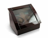 Contemporary Hi-Gloss Rosewood Dual Rotor Watch Winder (2) with LCD Display