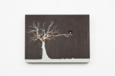 Contemporary Modern Cuckoo Clock with Wood Tone Wall with White Tree - C�C�R�K� by Progetti