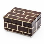 Contemporary Modern Masonry Style Inlay 18 Note Musical Jewelry Box