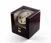 Contemporary Rosewood Single Rotor Dual Watch Winder (2) with Gold Accents