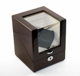 Contemporary Single Rotor Dual Watch Winder (2) with Hi-Gloss Mahogany Finish