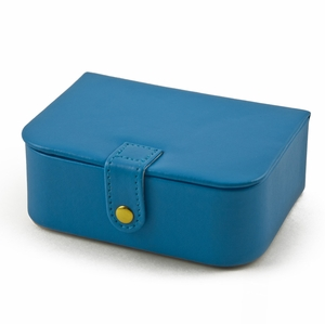 Convenient Baby Blue Snap On Button Flip Top Jewelry Box