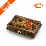 Custom Sound Module Digital Single Red Rose Inlay Music Box