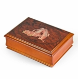 Dark Wood Tone 18 Note Ballerina Pointe Shoe Design Musical Jewelry Box
