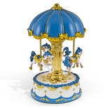 Dazzling Blue Canopy with Gold Accents Animated Musical Carousel Keepsake