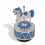 Dazzling Silver with Blue Accent Animated Carousel Horse