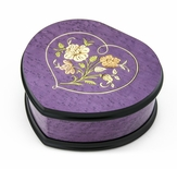 Elegant 22 Note Lavender Heart Shaped Music Jewelry Box with Floral in Heart Frame Inlay Design