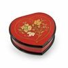 Elegant 22 Note Cherry Red Heart Shaped Music Jewelry Box with Floral in Heart Frame Inlay