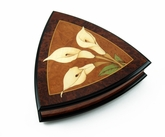 "Elegant 36Note ""Calla"" Reuge Music Box with 3 Delicate Lilies Wood Inlay *SPECIAL ORDER ONLY"