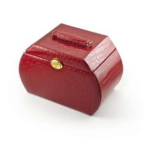 Elegant and Spacious Red Alligator Skin Faux Leather Multi-Tier Jewelry Box With Lock