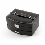 Elegant Curved Front Black Croc Skin Faux Leather Jewelry Box