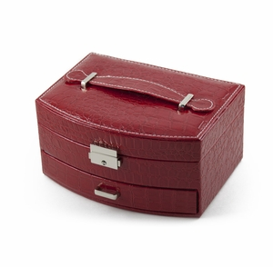 Elegant Curved Front Red Croc Skin Faux Leather Jewelry Box