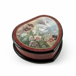 Elegant Heart Shape Painted Ercolano Music Jewelry Box Titled - Swan and Daylilies by Lena Liu