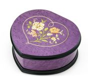Elegant Lavender/Purple Heart Shaped Music Jewelry Box with Floral in Heart Inlay