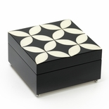 Elegant 18 Note Midnight Black and Ivory Contemporary Sorrento Music Jewelry Box