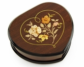 Elegant Wood Tone Heart Shaped Music Jewelry Box with Floral in Heart Frame Inlay Design