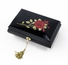 Enchanting 36 Note Black Lacquer Single Red Rose with Gold Hardware Music Jewelry Box