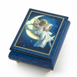"Enchanting Blue Ercolano Painted Music Box Titled ""Moonbeam"" by Brenda Burke"