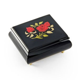 Enchanting Midnight Black with Red Rose Wood Glossy Sorrento Inlaid Music Box