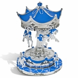 Enchanting Sparkling Silver And Blue Animated Musical Carousel