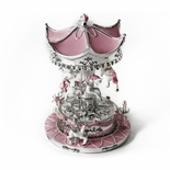 Enchanting Sparkling Silver And Pink Animated Musical Carousel