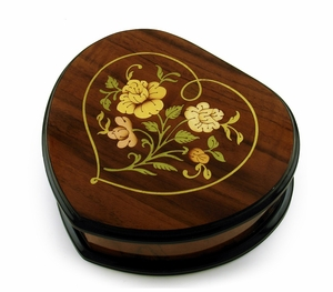 Heart Shaped Floral Inlay Music Jewelry Box